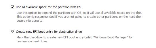 خيارات إعداد قرص إقلاع SSD من برنامج Paragon Migrate OS To SSD 4.0